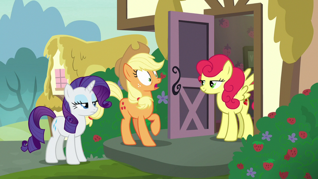 File:Applejack shocked by Strawberry Sunrise again S7E9.png