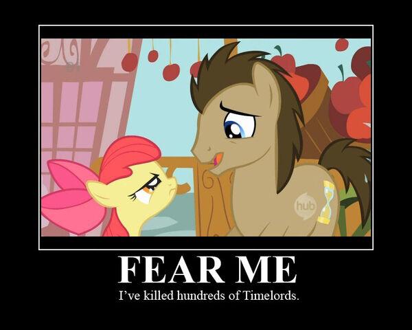 "File:FANMADE Apple Bloom ""Fear me, I've killed hundreds of Timelords"".jpg"