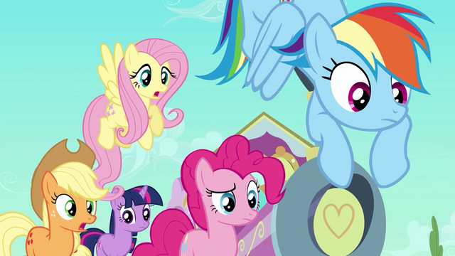 File:Main ponies scared of Peachbottom S03E12.png