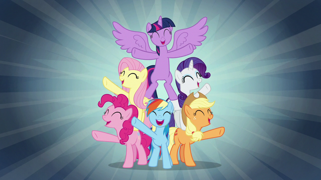"File:Mane Six sing ""when we're with our team"" S7E2.png"
