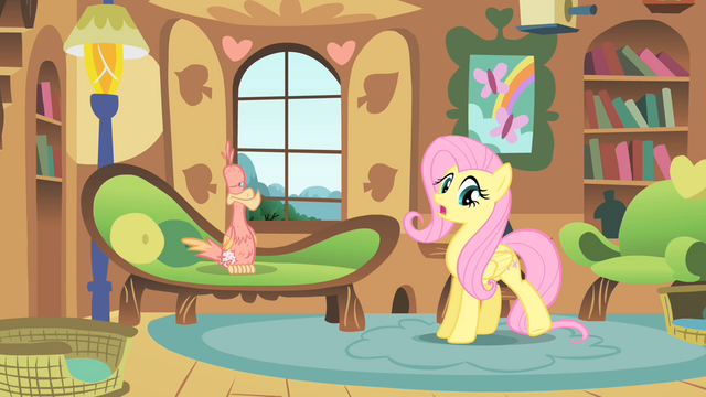 File:Fluttershy taking care of Philomena S01E22.png