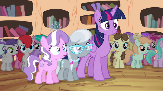 File:Twilight, Diamond Tiara, and Silver Spoon watching S4E15.png