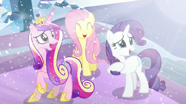 File:Cadance, Fluttershy, and Rarity happy seeing Flurry Heart S6E2.png