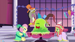 Discord drops the Smooze onto Fluttershy's table S5E7.png