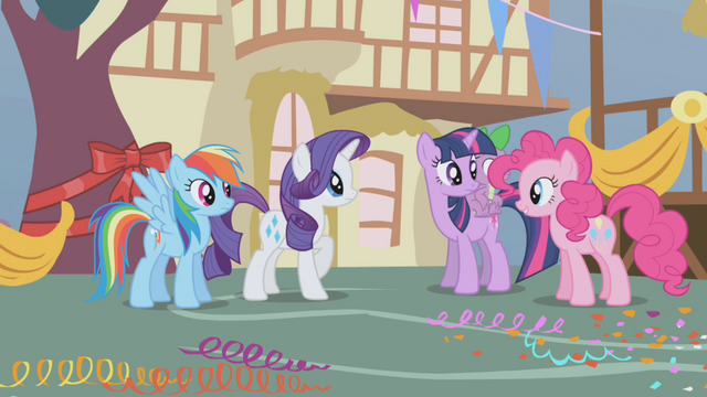 File:Main 4 ponies and Spike wonder where Applejack has been S1E04.png