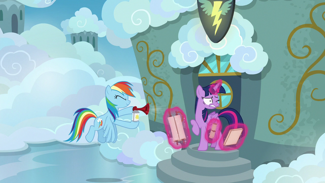 File:Rainbow Dash blows airhorn in Twilight's ears S6E24.png