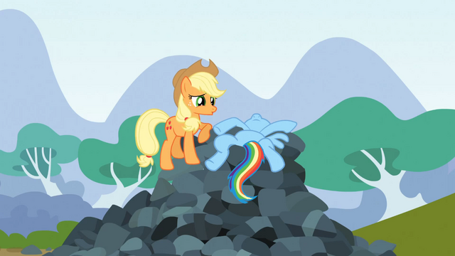 File:Rainbow Dash lying on top of rocks S3E09.png