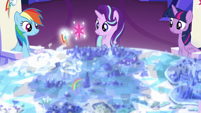 File:Rainbow and Twilight's cutie marks float over Yakyakistan S6E12.png