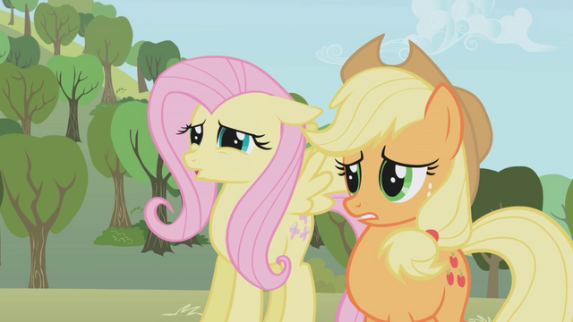 File:Fluttershy and Applejack from the bad cupcakes S1E4.png