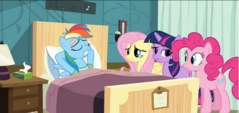 Rainbow relaxed in front of other main ponies S2E16