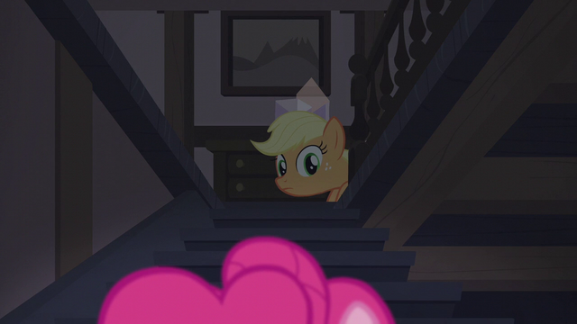 File:Applejack watches Pinkie go downstairs S5E20.png