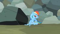 Rainbow Dash sees wing stuck under rock S2E07