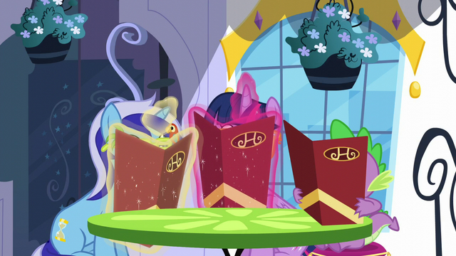 File:Twilight, Spike, and Minuette hiding behind menus S5E12.png