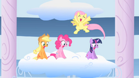 Fluttershy jumping and screaming when Rainbow Dash succeeds S1E16