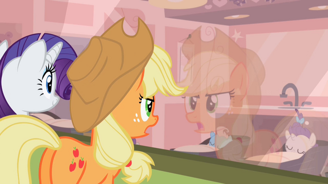 File:Rarity and Applejack looking at the foals S2E13.png