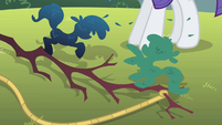 Spruced up branch at Rarity's hooves S1E08