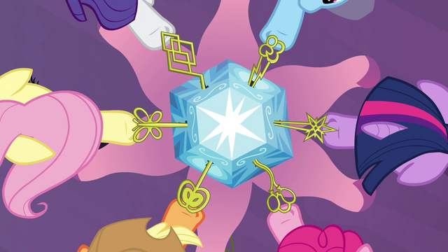 File:The Mane 6 unlocking the chest S4E26.png