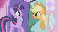 Applejack about to drag Twilight outside S1E03