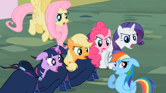 "File:Main cast and Rainbow Dash ""a little?!"" S02E08.png"