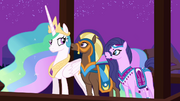Princess Celestia with the delegates from Saddle Arabia S3E5.png