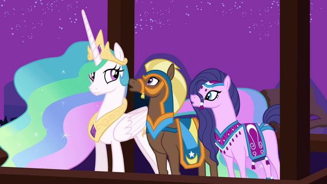 File:Princess Celestia with the delegates from Saddle Arabia S3E5.png