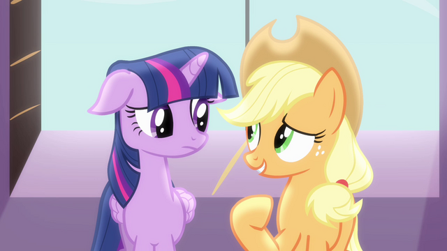 """File:Twilight and Applejack """"always keep us connected"""" S4E01.png"""