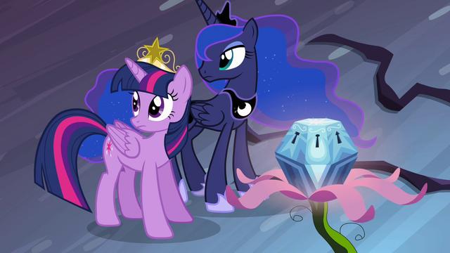 File:Twilight and Luna listening to Celestia S4E02.png