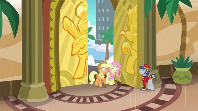 File:Applejack and Fluttershy enter Gladmane's resort S6E20.png