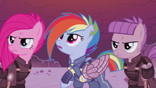 Pinkamena, Rainbow, and Maud in Sombra-ruled timeline S5E25.png