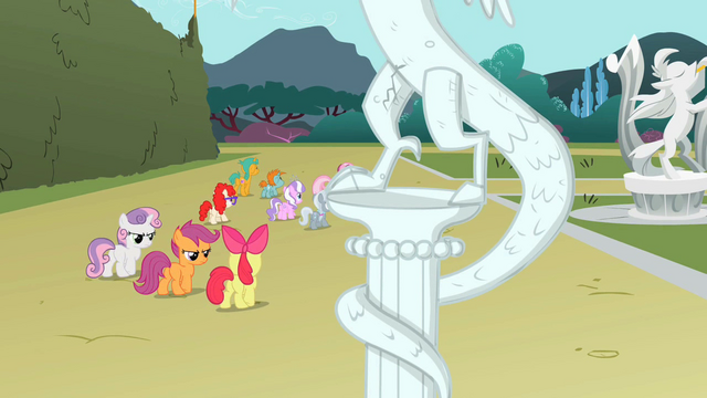 File:Cutie Mark Crusaders arguing while statue cracks S2E01.png