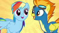 Rainbow and Spitfire recite the Wonderbolts motto S6E7