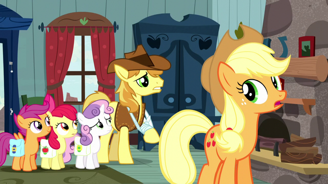 File:Applejack and CMC hear Braeburn S5E6.png