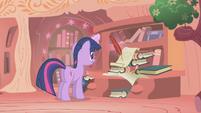 Twilight writing to Princess Celestia S1E06