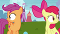 Apple Bloom and Scootaloo hear Ripley barking S7E6.png