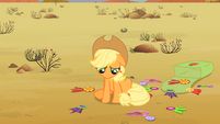 Applejack's ribbons are scattered on the ground S2E14