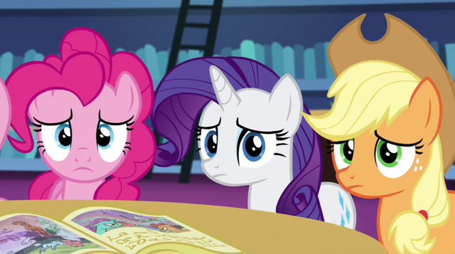 File:Pinkie, Rarity, and AJ listen to Twilight's story EG2.png