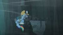 Rainbow panics after a piece of the cliff falls out from down under S5E8