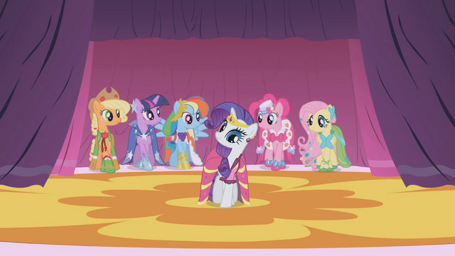 File:The ponies wearing their Gala dresses S1E14.png