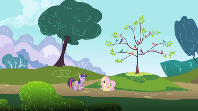 File:Long-distance view of Twilight and Fluttershy S1E01.png
