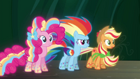 Pinkie, Rainbow and Applejack in their Rainbow Power forms S4E26