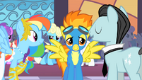 Rainbow Dash trying to talk to Spitfire S1E26