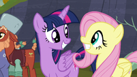 Twilight and Fluttershy happy the feud is over S5E23