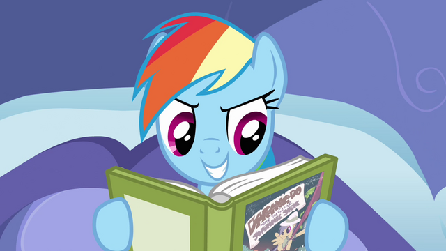 File:Rainbow Dash reading in her bed S2E16.png