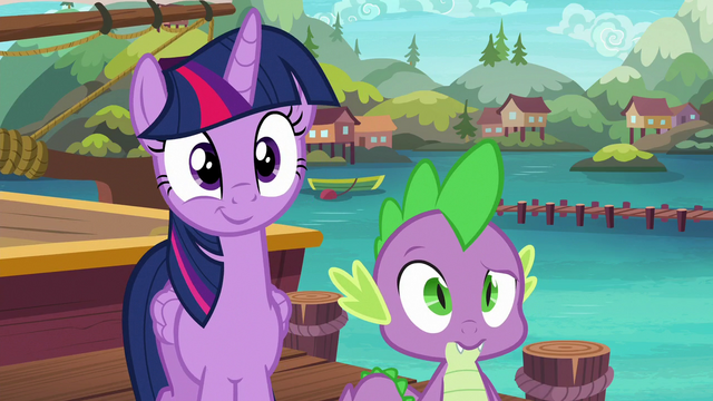 File:Twilight and Spike wait for their pony friends S6E22.png