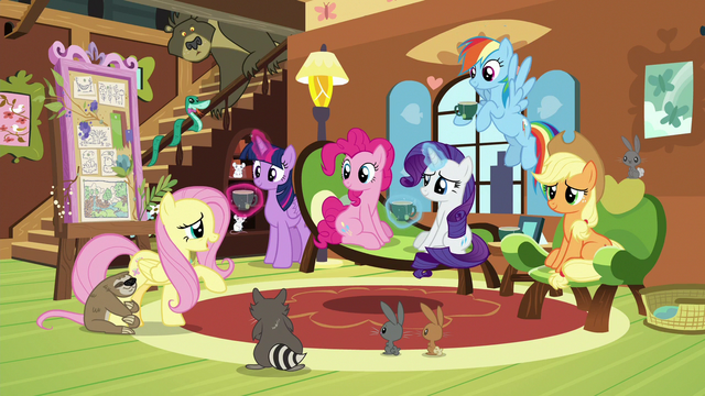 File:Mane Six at Fluttershy's cottage again S7E5.png