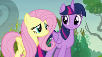 Twilight and Fluttershy looking puzzled S5E23