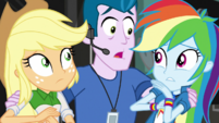 Nervous P.A. grabs Applejack and Rainbow EGS2