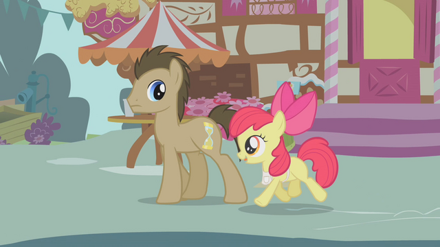 "File:Apple Bloom and Dr. Hooves ""Care to buy some apples?"" S1E12.png"