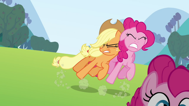 File:Applejack pushes the Pinkie clone S3E03.png