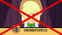 """Applejack misspells """"onomatopoeia"""" EG3"""